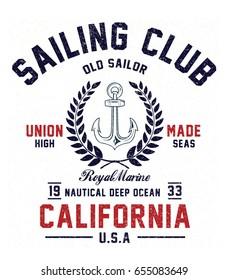 Vintage sailor typography for t-shirt print , vector illustration