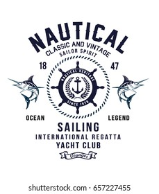 Vintage sailor typography for t-shirt print , vector illustration