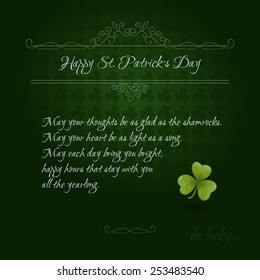 Vintage Saint Patrick's Day Card with green clover leaf and Irish blessings on green background. Vector illustration EPS 10