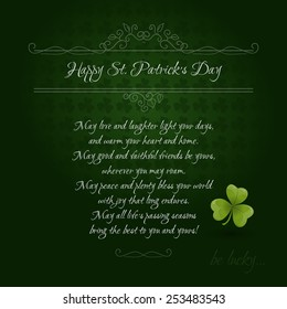Vintage Saint Patrick's Day Card with green clover leaf and Irish blessings. Vector illustration EPS 10