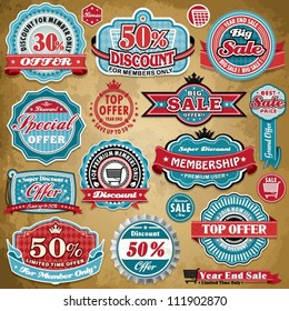 Vintage Sale frame label set template