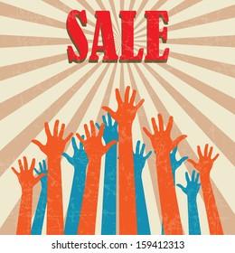 Vintage sale poster (Vector illustration)