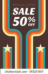 Vintage sale vector flyer. Abstract vertical banner in retro style - special offer 50% off. Discount design layout.