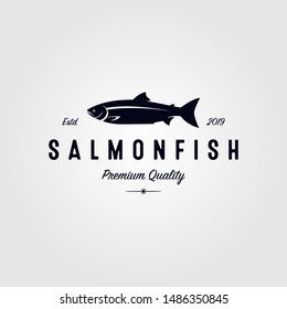 vintage salmon fish logo seafood label badge vector design illustration