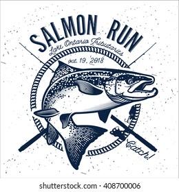 Vintage Salmon Fishing Emblem