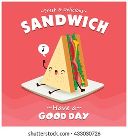 Vintage sandwich poster design with vector sandwich character.
