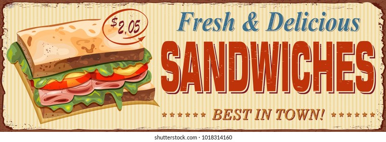 Vintage Sandwiches  metal sign.