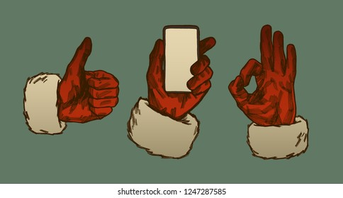 Vintage Santa Claus hands - thumb up, ok sign and holding phone
