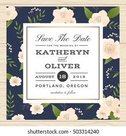 Vintage Save the date, wedding invitation card decorate with flower floral pattern in navy blue color. Vector illustration.
