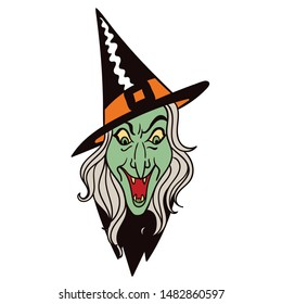 Vintage scary Halloween laughing witch's face. Vector illustration. Perfect for stickers, pins, patches etc.