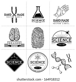 Vintage Science Labels - Layered, hand crafted vintage vector labels and badges