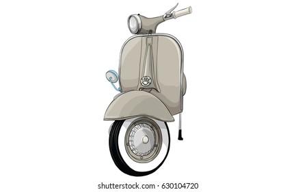 vintage scooter vector front images stock photos vectors shutterstock https www shutterstock com image vector vintage scooter 630104720