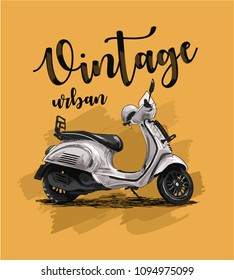 vintage scooter on yellow background