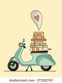 Vintage scooter poster design. Scooter with books