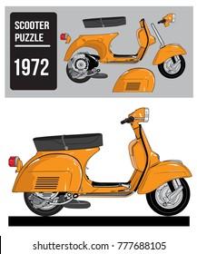 vintage scooter vespa puzzle