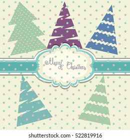 Vintage scrap booking template for merry Christmas and Happy New Year card, kid party, invitation, greeting,  boy, girl  card,  label, postcard frame, child album. Vector.
