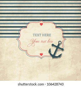 Vintage scrap nautical card with frame, anchor and hearts