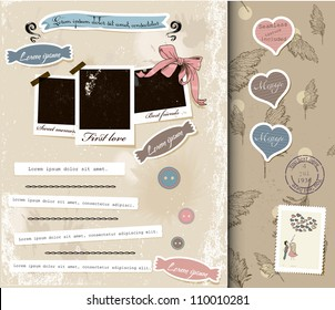 Vintage scrapbook elements set 2. Vector illustration EPS10.