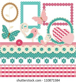 Vintage scrapbook elements set with birds and hearts