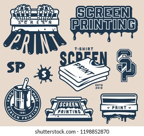 Vintage screen printing concept with squeegees shirts lightnings letterings paint splashes on gray background isolated vector illustration