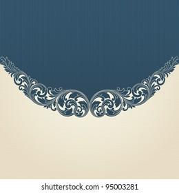 Vintage scroll engraving pattern border frame card invitation vector