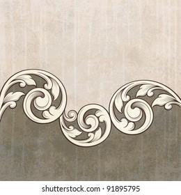 Vintage scroll engraving pattern at grunge background card invitation vector
