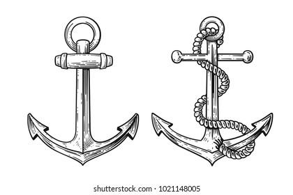 Vintage Anker mit Seil. Handgezeichneter Vektor