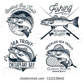 Vintage Sea Trout Fishing Emblems, Labels and Design Elements
