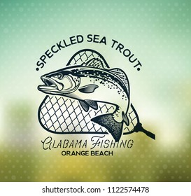 Vintage Sea Trout Fishing Emblems, Labels and Design Elements. Vector Illustration.