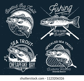Vintage Sea Trout Fishing Emblems, Labels and Design Elements