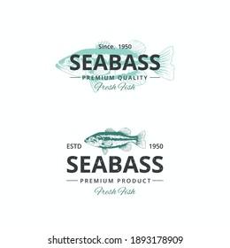 Vintage seabass fish logo template for restaurant