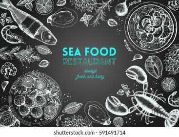 Vintage seafood frame vector illustration. Hand drawn with ink. Cooked seafood dish on the table top view. Hand drawn lobster, perch, oysters and shrimps. Engraved style image