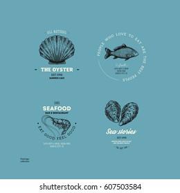 Vintage seafood logo collection. Engraved logo set. Vector illustration