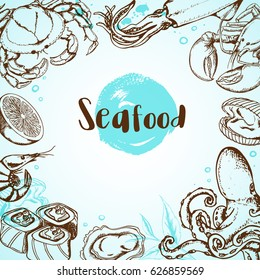 Vintage seafood menu background with octopus, crab, shrimp and sushi