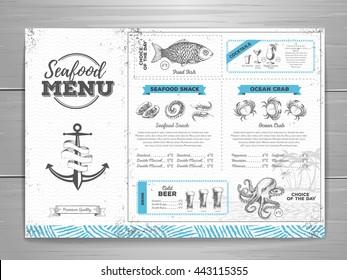 Vintage seafood menu design.