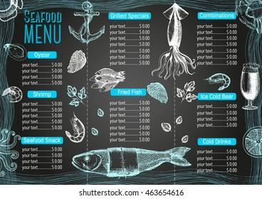 Vintage seafood menu design.Vector illustration document template