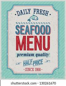 Vintage SeaFood Poster. Vector illustration.