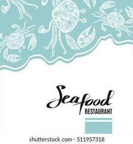 Vintage seafood restaurant background. Hand drawn light blue design template with a crab pattern. Great for menu, banner, flyer, card, seafood business promote. Vector illustration
