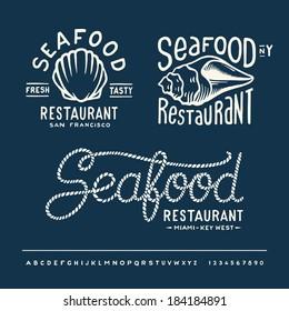 Vintage seafood restaurant layout New York, San Francisco, Miami Key West with handwritten alphabet