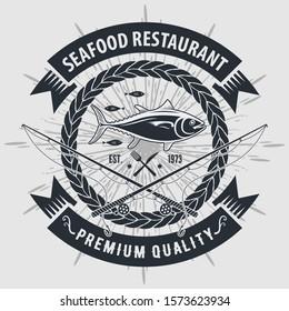 Vintage Seafood restaurant logo design concept with Tuna fish. Vector illustration