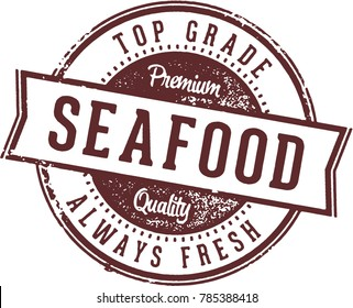 Vintage Seafood Restaurant Menu Stamp