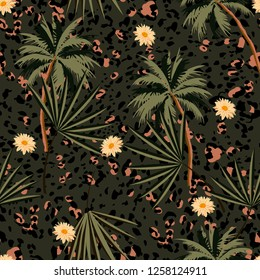Vintage  seamless animal prints pattern with tropical plants and leopard prints. Vector illustration  design for fashion,fabric,paper, wallpaper, cover,  and all prints on dark green background color