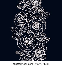 Vintage seamless background with floral ornament. Vector floral pattern with outline roses, buds and leaves. Endless vertical border. Chalkboard.