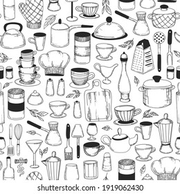 Vintage seamless background. Kitchen tools. Doodle sketch utensils hand-drawn with ink. Can be used for wallpaper, pattern fills, textile, web page background, surface textures.Vector illustration