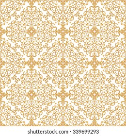 Vintage seamless background with lacy ornament. Light golden pattern.