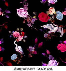 Vintage seamless background pattern. Roses and peony flowers, heron birds around with leaf on black. Abstract, hand drawn, vector - stock.