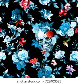 Vintage seamless background pattern. Skull with flowers, roses, peony, pomegranate and leaves on black. Hand drawn artwork. Vector - stock.