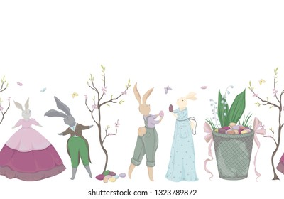 Vintage seamless border with bunny characters and design elements for the Easter holiday. Easter bunny, eggs, flowers, basket, spring tree, butterflies. Vector illustration in watercolor style