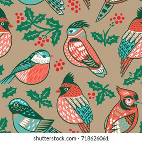 Vintage seamless Christmas pattern with winter birds and holly. Perfect for holidays wallpaper, gift paper, pattern fills. Vector illustration