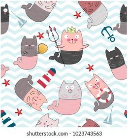 Vintage seamless cute comic cat mermaid and sea beach items pink pastel cartoon background pattern vector,doodle art illustrator